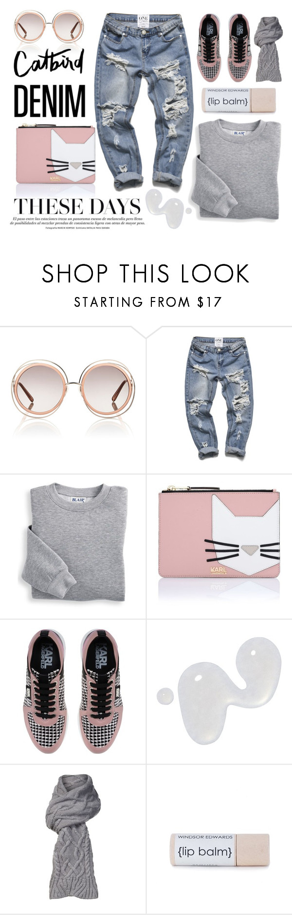 """""""Distressed Denim"""" by bysc ❤ liked on Polyvore featuring Chloé, Blair, Karl Lagerfeld, Illamasqua and UGG"""