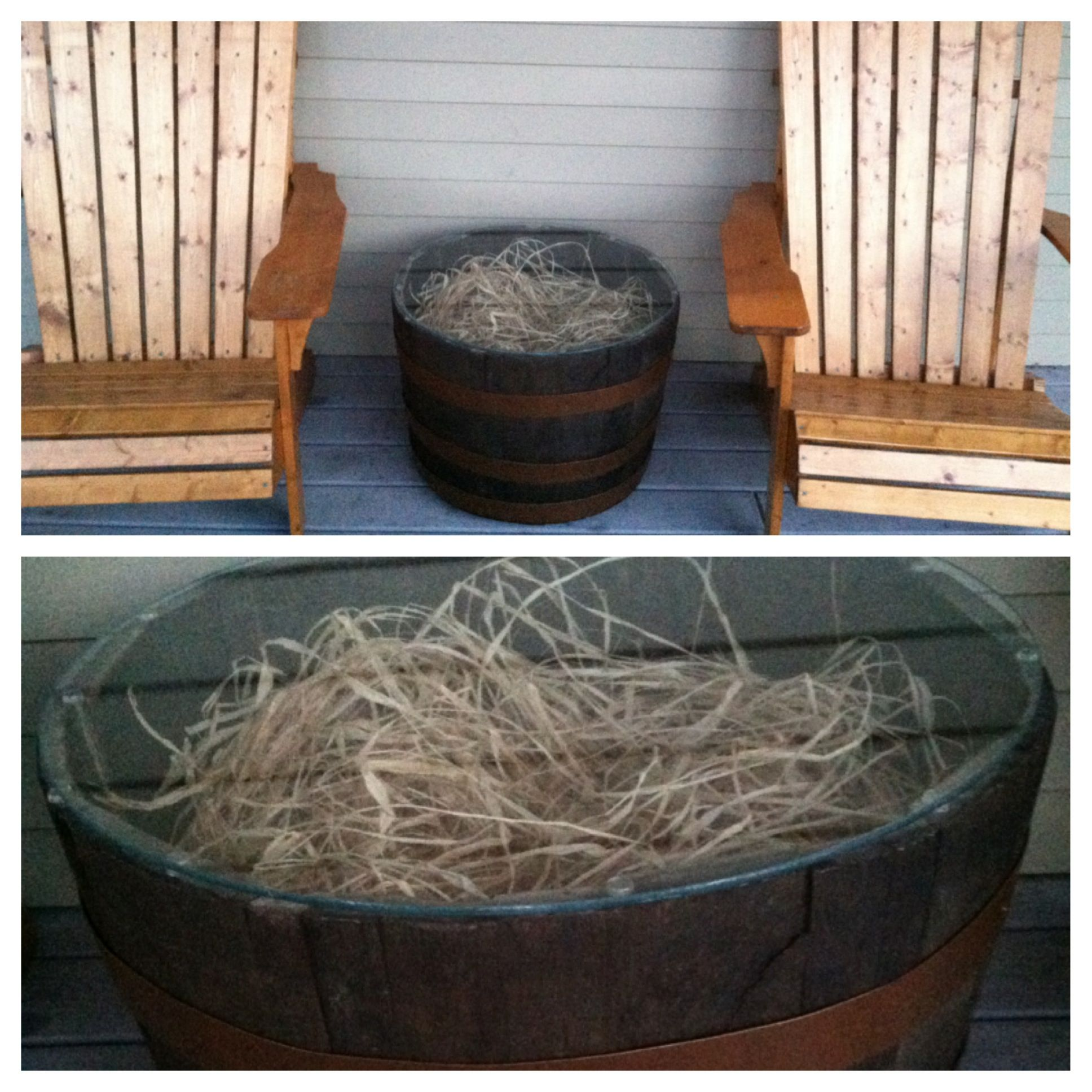 Whiskey barrel planter as end table. $30 planter from Home Depot ...