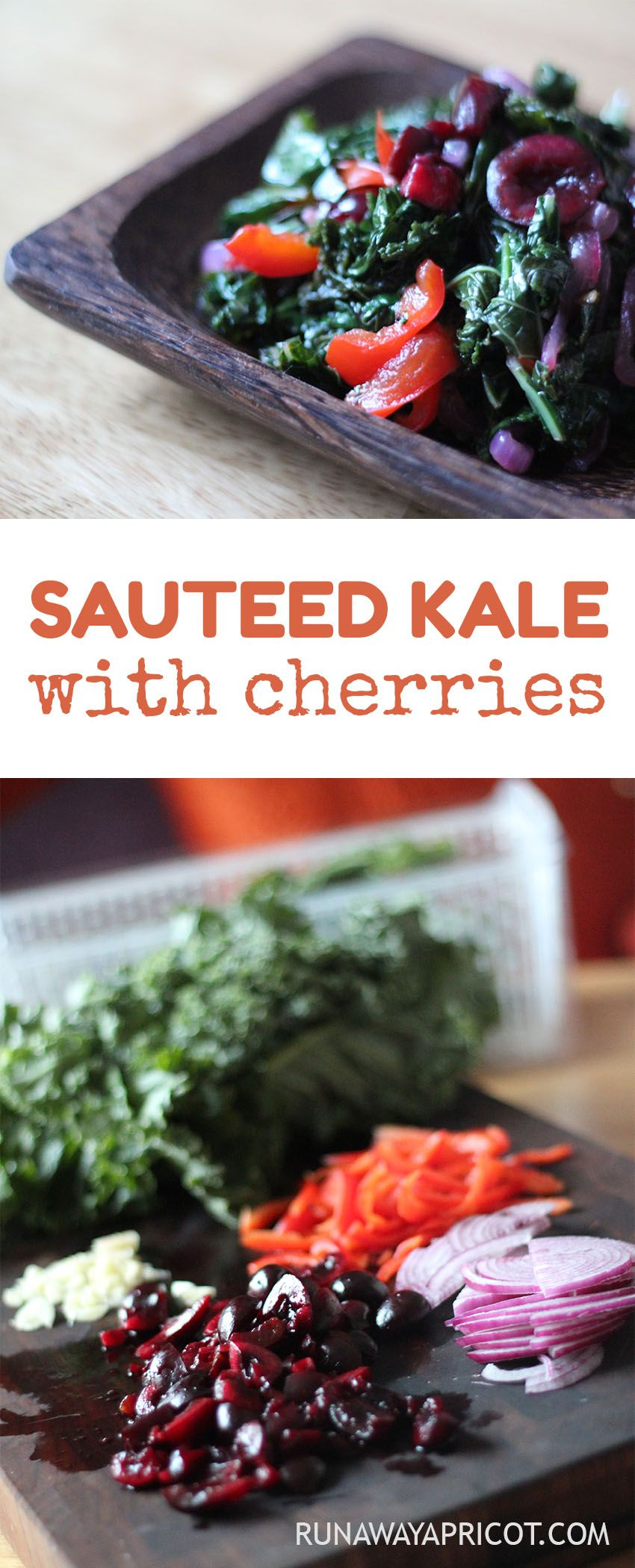 Sauteed Kale with Cherries. Make this quick side dish for a burst of color and nutrition at any meal. Reheat easily for #mealprep!