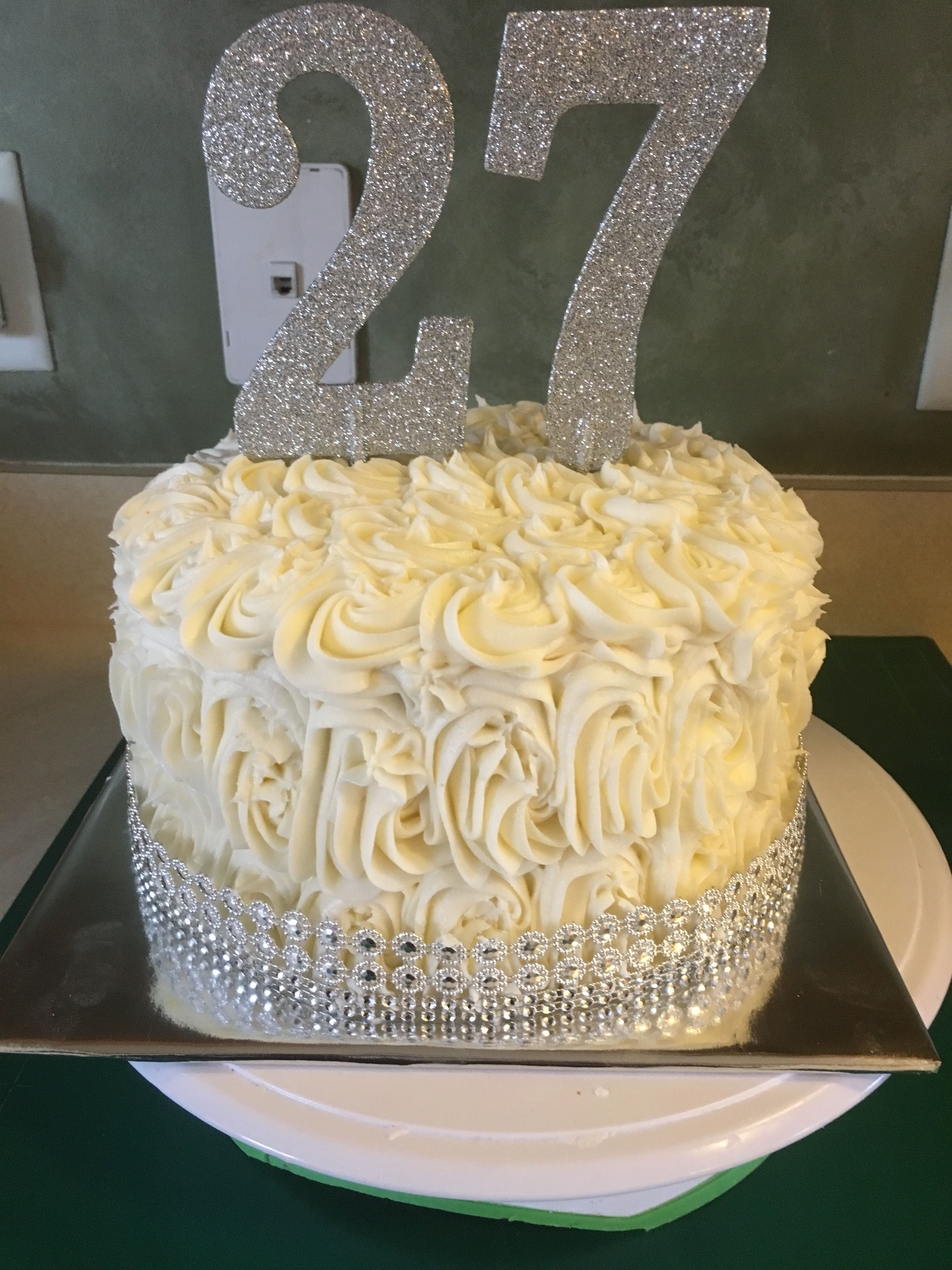 27th Birthday Cake : birthday, Rosette, Birthday, Cake,, Golden, Cakes,