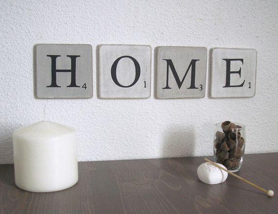 Lettres en bois patin blanc et gris decoration murale mot - Lettre scrabble deco ...