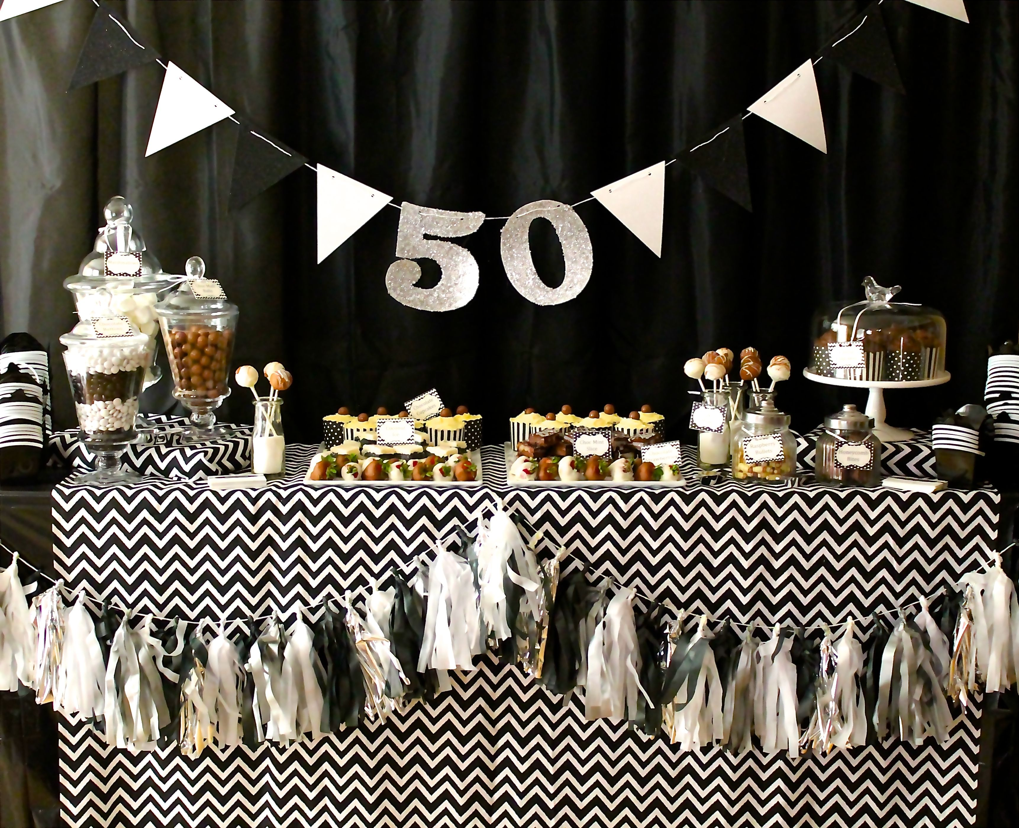 Black And White 50th Birthday Birthday Party Decorations For