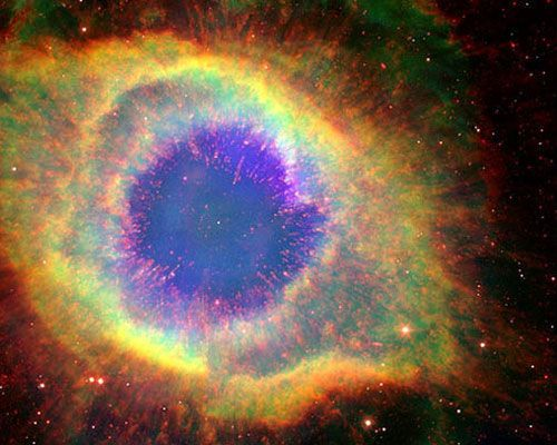Helix nebula approx. 650 light years away is progressively dying. At the center of the image is the dead star that has collapsed into a white dwarf.