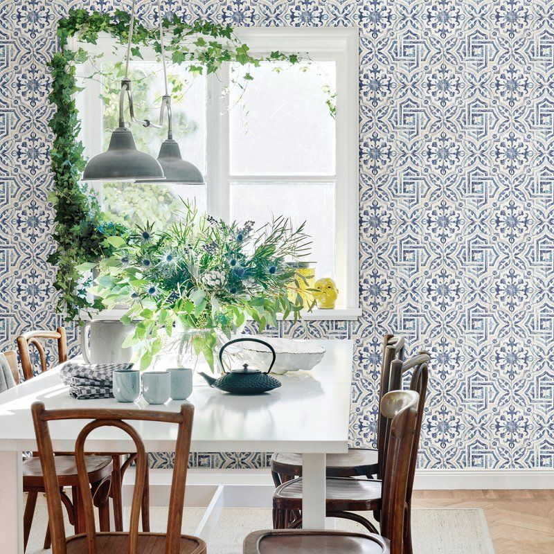 "Jovanny Spanish Tile 33' L x 20.5"" W Geometric Wallpaper"