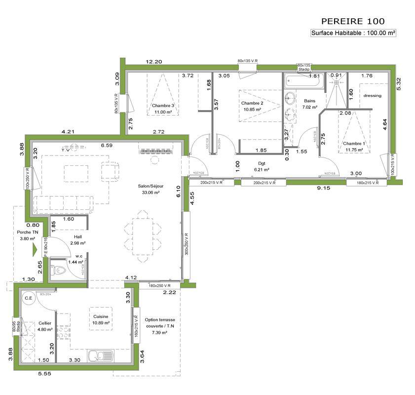 Modèle PEREIRE du constructeur de maison littoral habitat Maison - exemple de plan de construction de maison gratuit