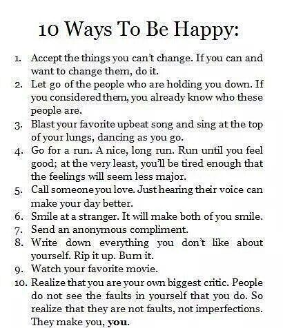 10 ways to be happy.  #PositiveMinds by thepositiveminds