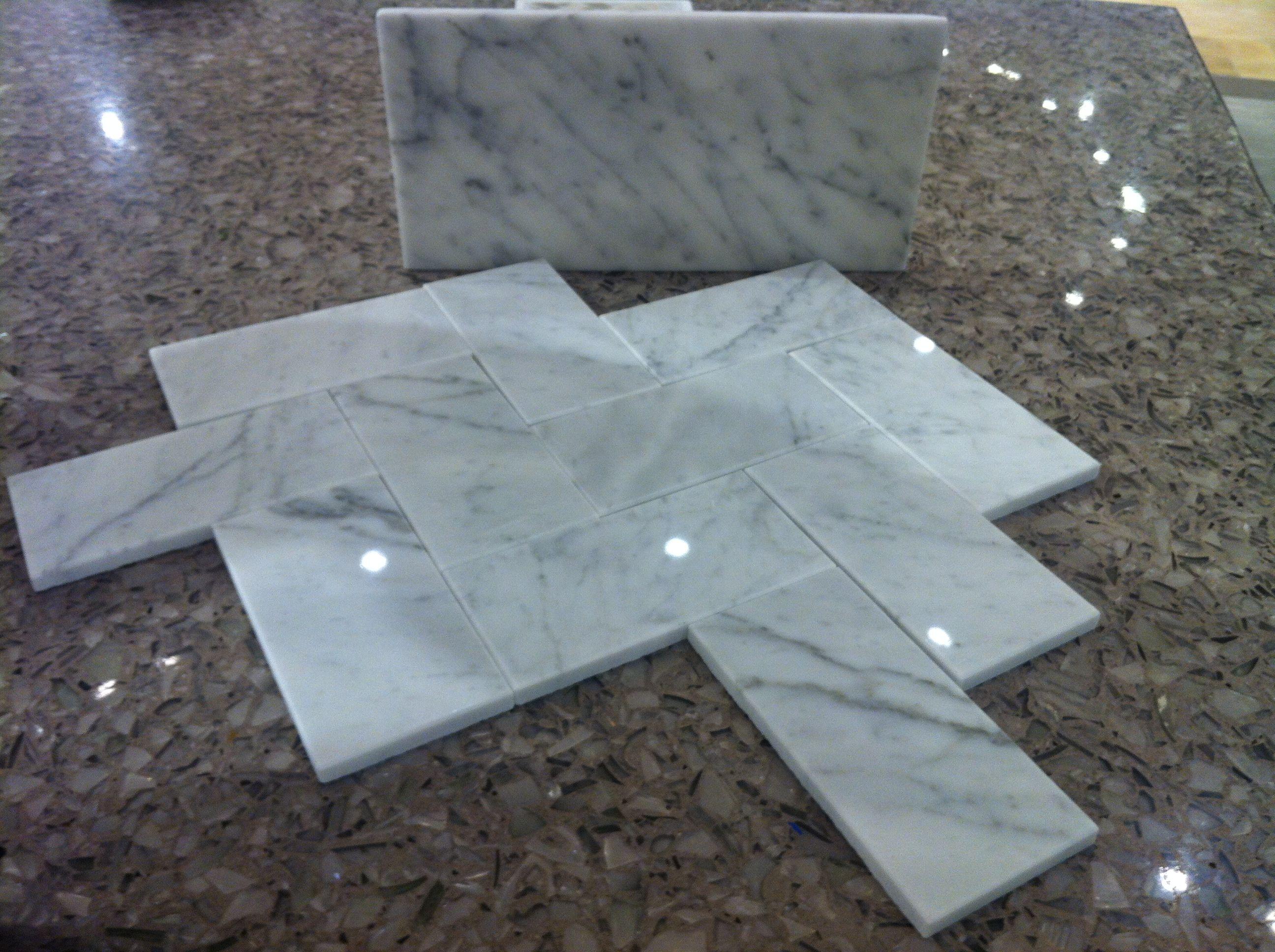 Herringbone Carrara Tile Bathroom Floor Ideas