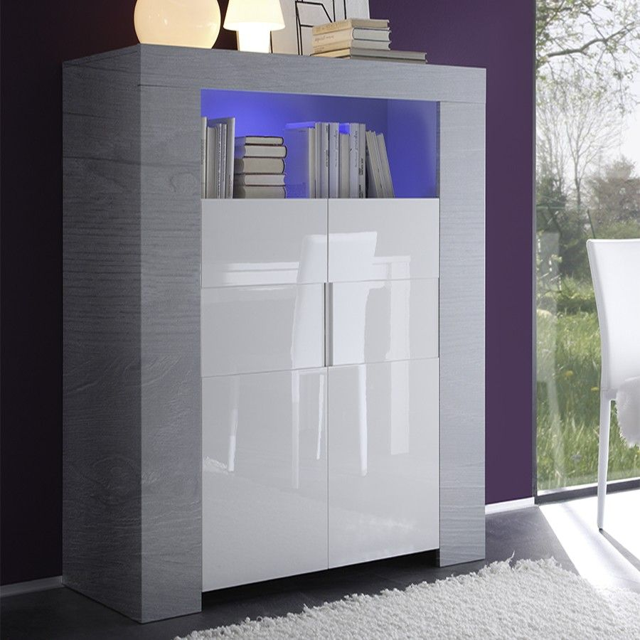 Buffet haut blanc laqué et bois gris moderne ELIOS 2 | Argentier ...