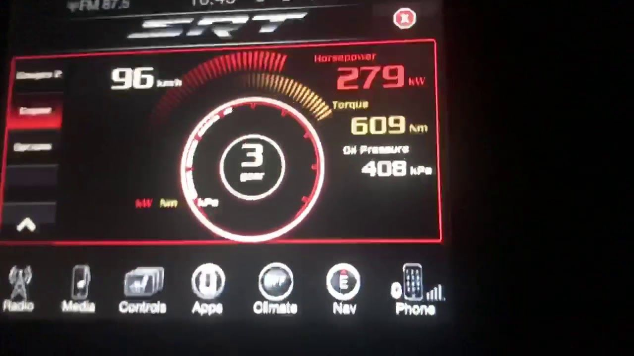 SRT Pages App on the Uconnect system in our Hellcat