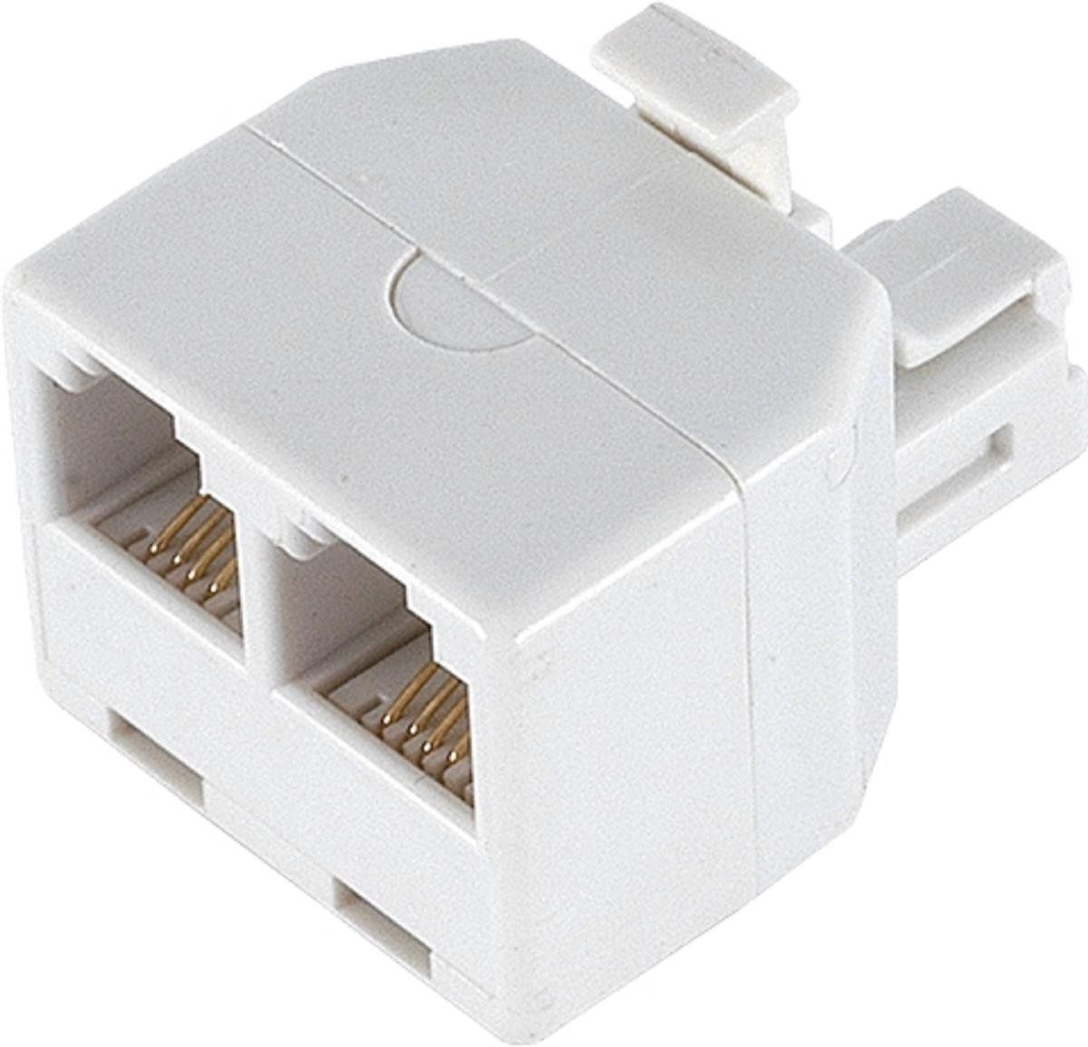 Ge 26191 Duplex Wall Jack Adapter White 4 Conductor By Jasco Electronic Products Modular Phone Telephone Accessories