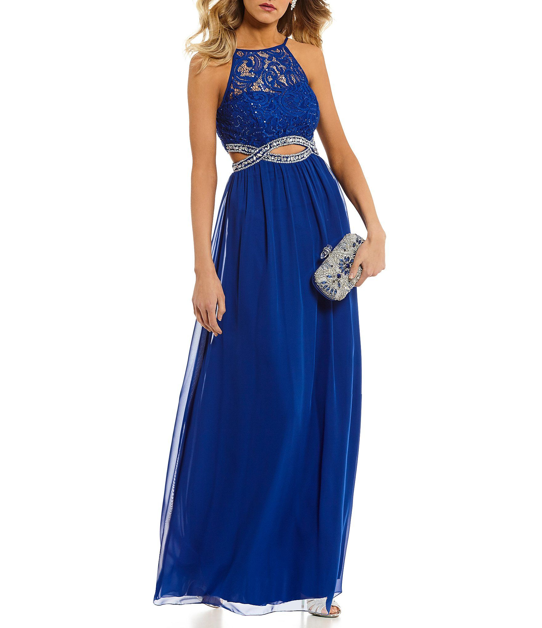 bf73259c623 Xtraordinary Lace Bodice Infinity Waist Long Dress  Dillards Prom Dresses  Blue