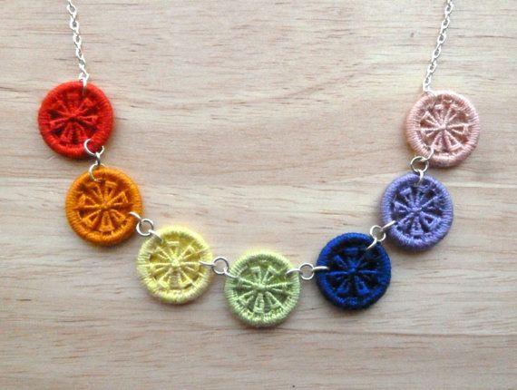 rainbow silver necklace  Dorset button necklace by GinisBoutique, £18.00