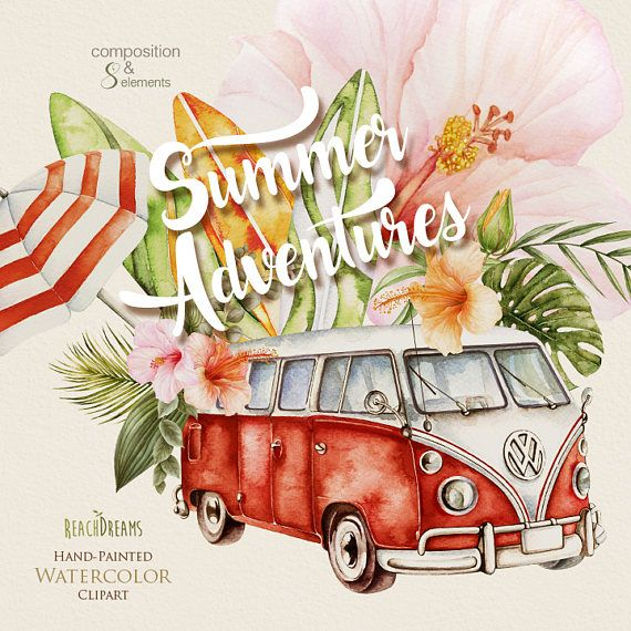 Watercolor Surfing Clipart, Campervan, Surfboard, Vintage ...