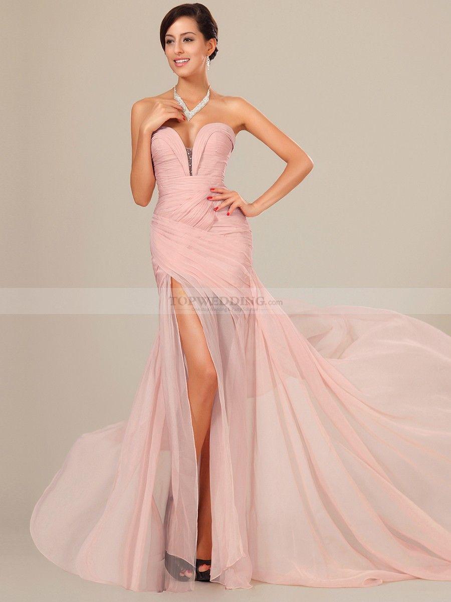 Plunging sweetheart neckline chiffon mermaid prom dress for Plunge neck wedding dress