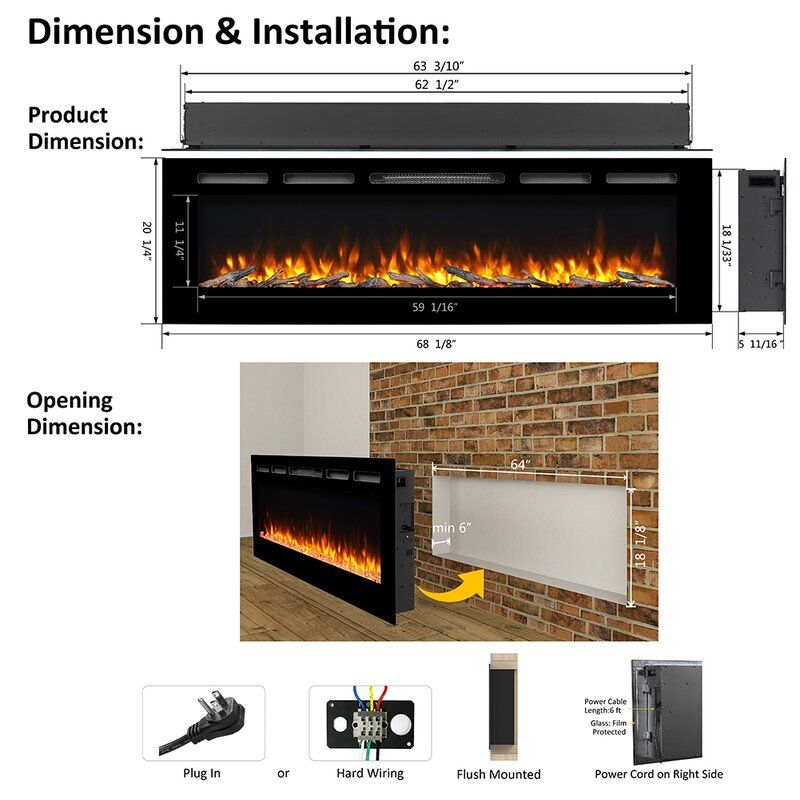 Latitude Run Callan 1500w Black Heater Log Set Crystal Recessedelectric Fireplac In 2021 Recessed Electric Fireplace Electric Fireplace Built In Electric Fireplace
