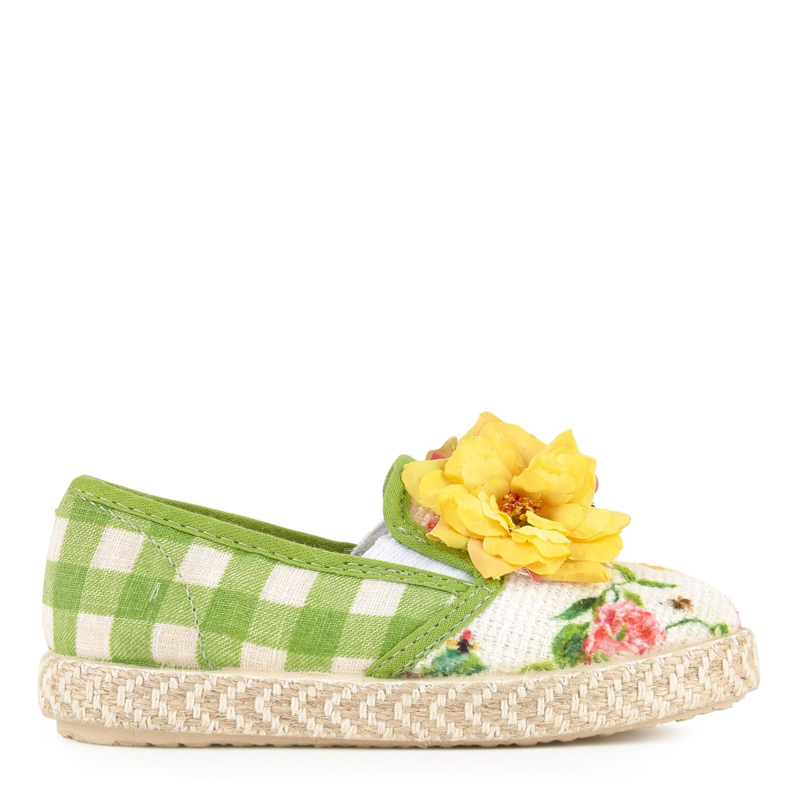 Cloth upper Rubber soles Soft upper Wide necklines Reinforced heels Stiff soles Elasticated tongues Gingham print Flower print Fancy flowers - $ 79.00
