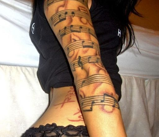 music tattoo sleeves music tattoo sleeve themes tribal. Black Bedroom Furniture Sets. Home Design Ideas