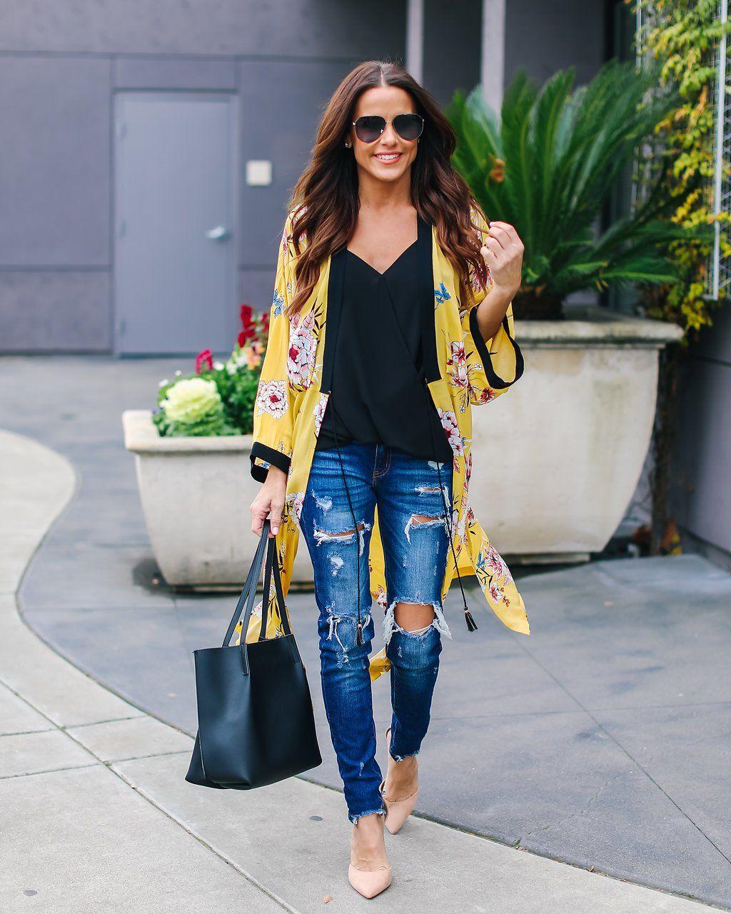 c94d999f0f Outfit ideas. Yellow floral kimono. Black top. Distressed jeans. Nude  pumps. Black pumps.