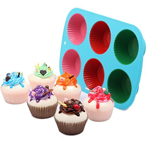 Homkom 7 Pack 1 Piece 6 Cup Silicone Cake Pan 6 Piece Cupcake
