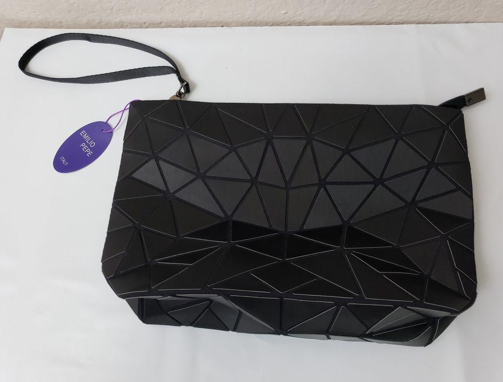 a9fc8f9dd67 Emilio Pepe Italy Black Matte Clutch Bag Geometric Pattern Detachable  Wristlet #EmilioPepeItaly #ClutchPOUCH