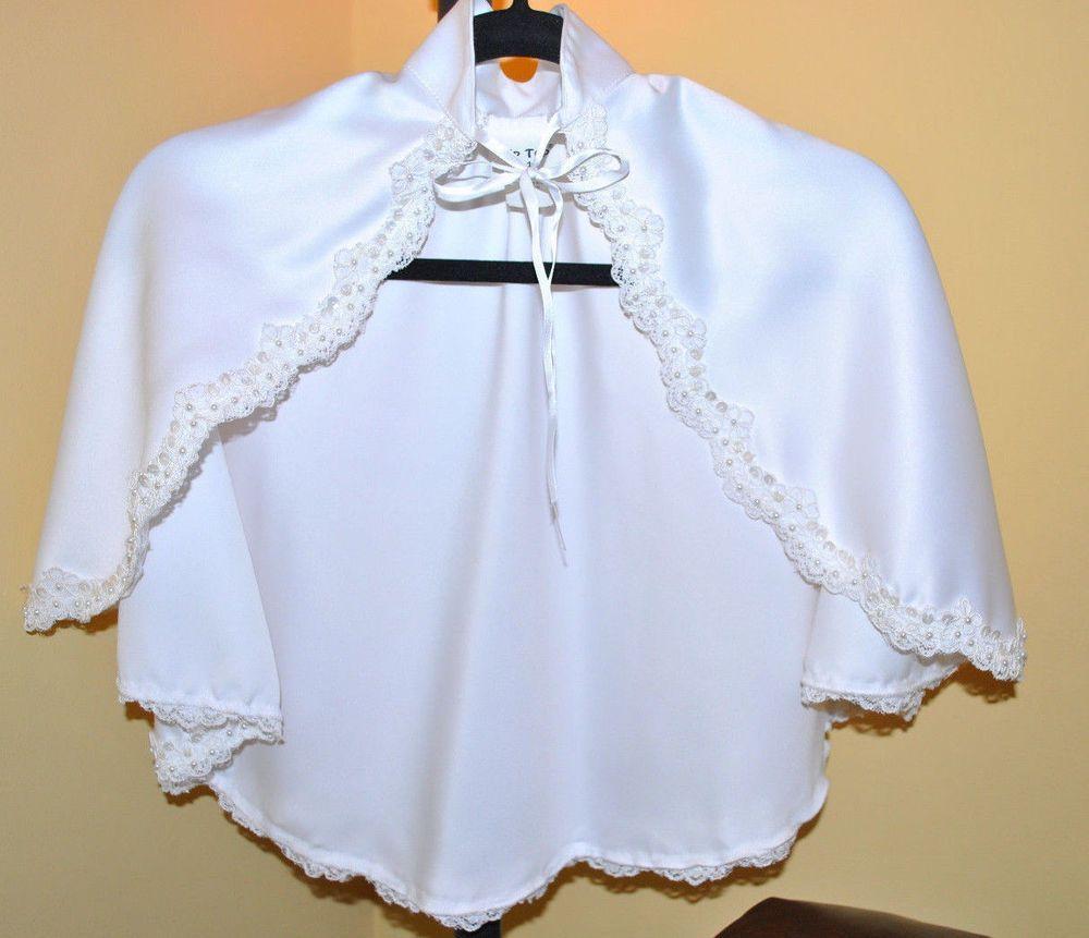 Communion Flower Girl WHITE Satin Wrap/ Bolero/Shawl/ Cape
