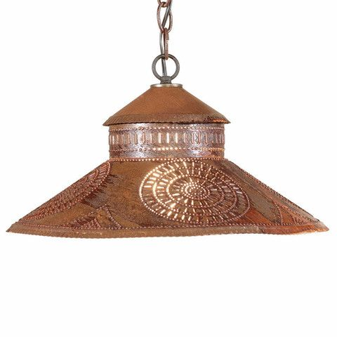 Punched Tin Pendant Lamp Colonial Chisel Pattern Hanging Light In Blackened Or Rustic