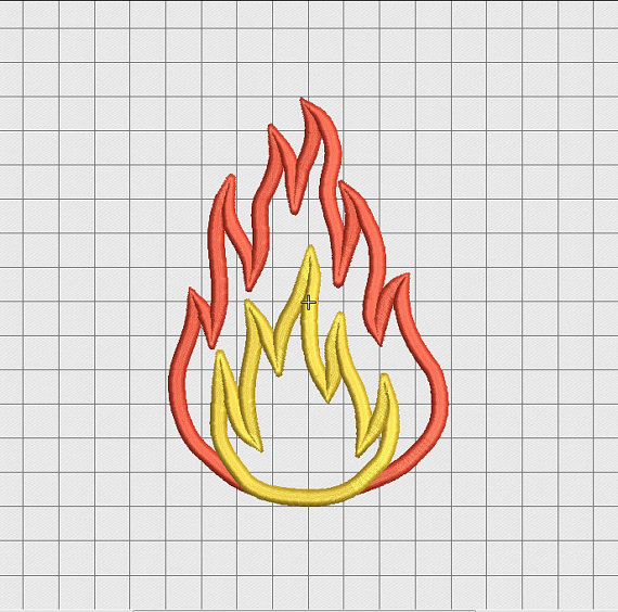 Fire Flame 2 Layer Applique Embroidery Design in 3\