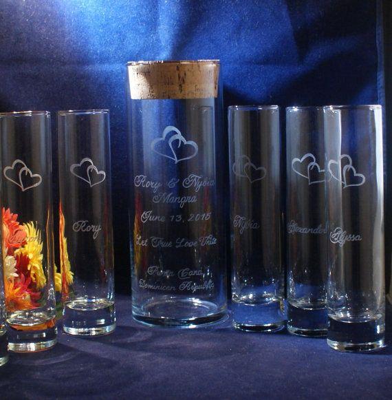 6 Pc Wedding Unity Sand Ceremony Set W 9 X 3 Vase With Engraved