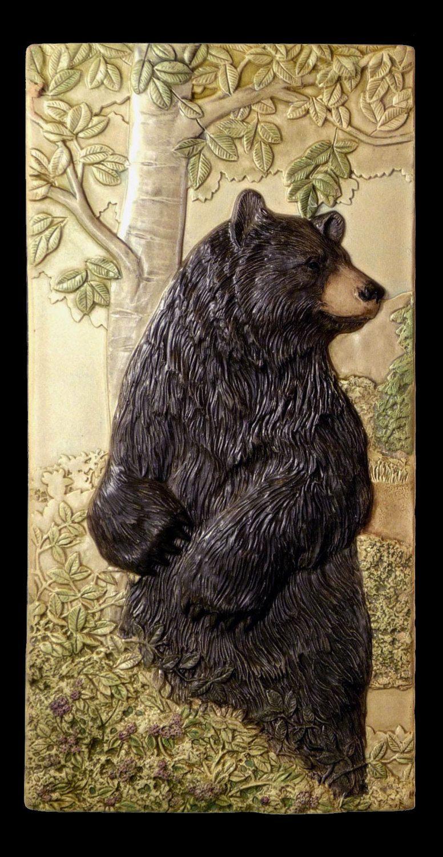 Animal art ceramic tile art tile bear pause wall decor art tilebear pause black bear 6 x 12 inches dailygadgetfo Images