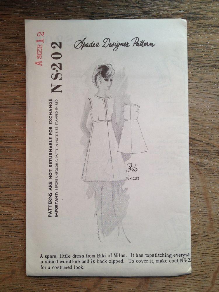 1966 SPADEA SEWING PATTERN NS-202 BIKI OF MILAN A LINE DRESS SIZE 12 ...