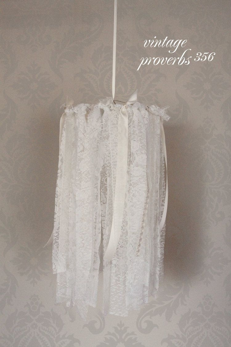 Vintage inspired shabby chic lace and ribbon wedding baby nursery vintage inspired shabby chic lace and ribbon wedding baby nursery or photography prop chandelier mobile arubaitofo Gallery