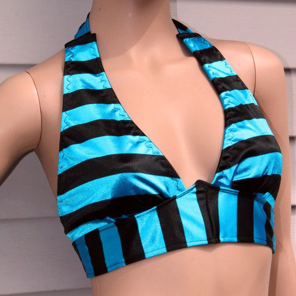 Stripe Halter Top Festival Bra Tribal Belly Dance Top Black and Blue... ($65) ❤ liked on Polyvore featuring grey, tanks, tops and women's clothing