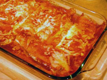 Cheese Enchiladas- Tortillas stuffed with Cheese and Topped with Chile Sauce