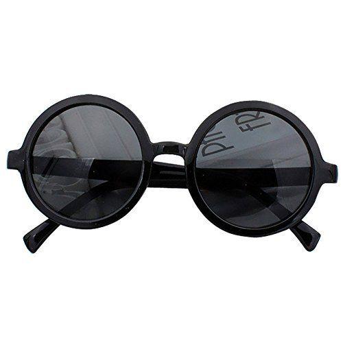 Lobzon Lunettes rondes en plastique pour Femme Vintage - noir - xepOA0s