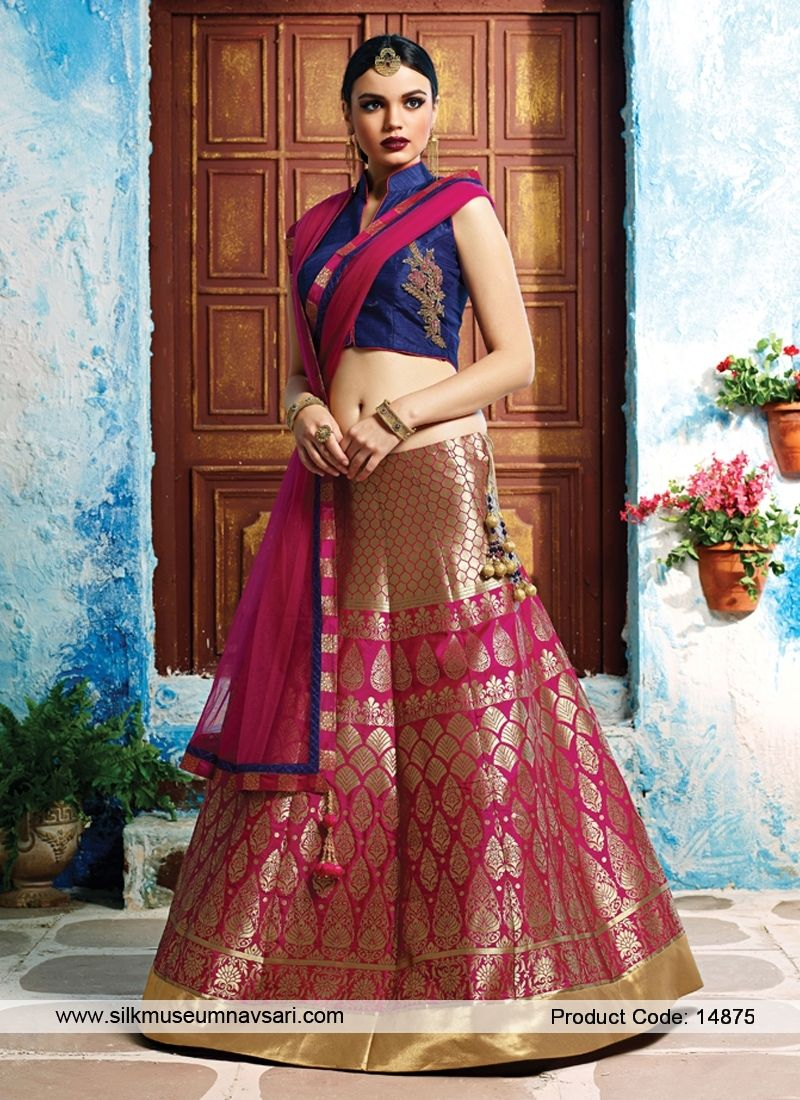 8924724cd9 Fashionable Banarasi silk Bridal Hot Pink And Navy Blue Lehenga Choli
