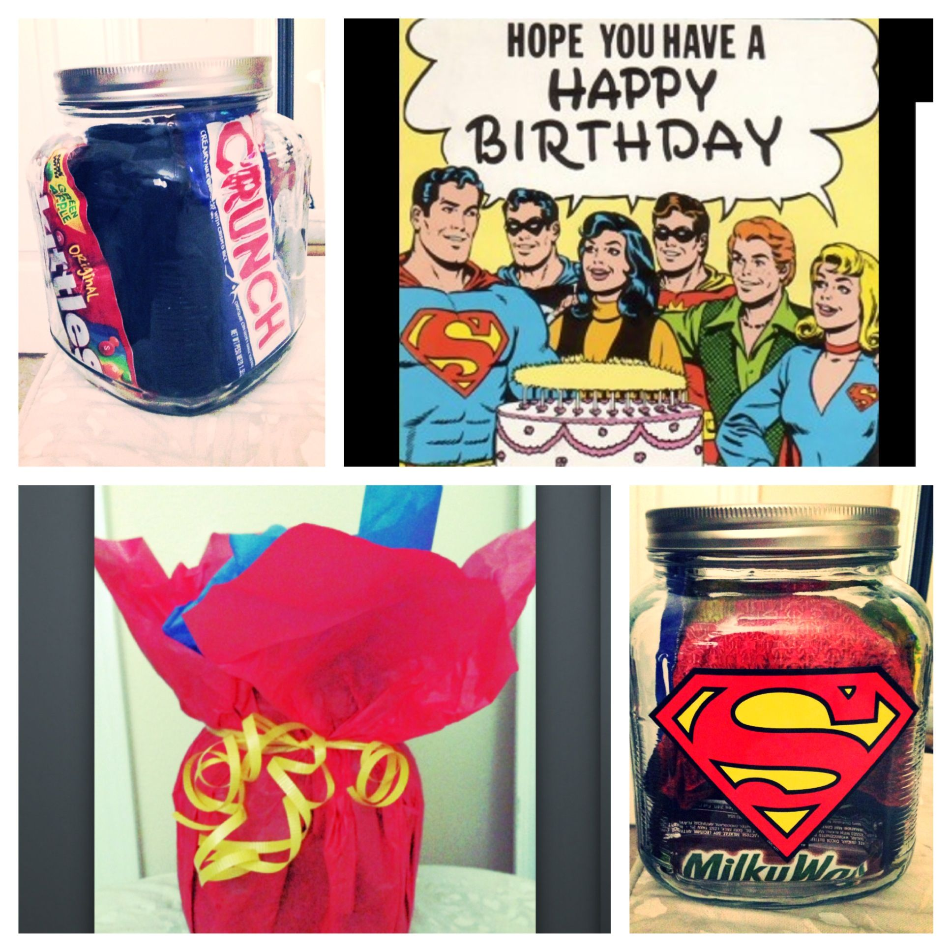 Superman Birthday Gift Idea Large Mason Jar Stickers Tissue Paper Ribbon Candy T Shirt