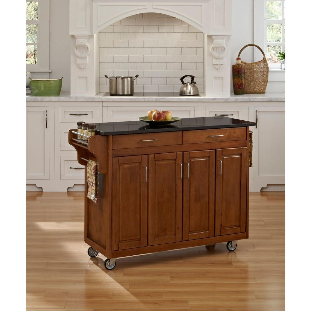 Home Styles Create-a-Cart Warm Oak Kitchen Cart with Black ...