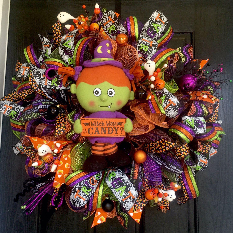 Halloween deco mesh wreath, Halloween mesh wreath, Witch wreath - halloween front door decor