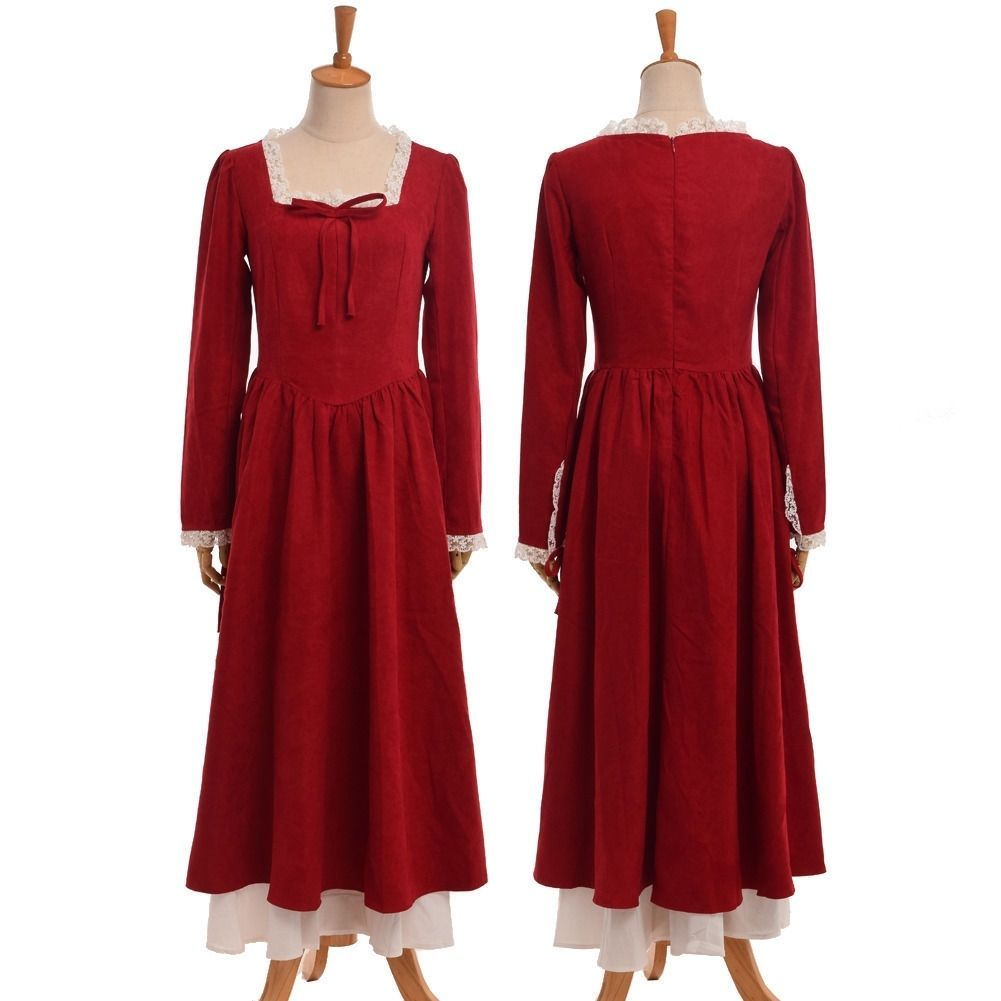 Jacquard weaves lace red long sleeve dress medieval sytle womens