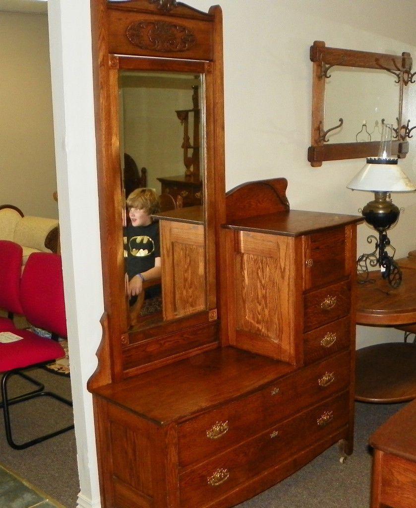 Quartersawn Oak Gentleman S Chest Dresser With Mirror Dr60 Ebay