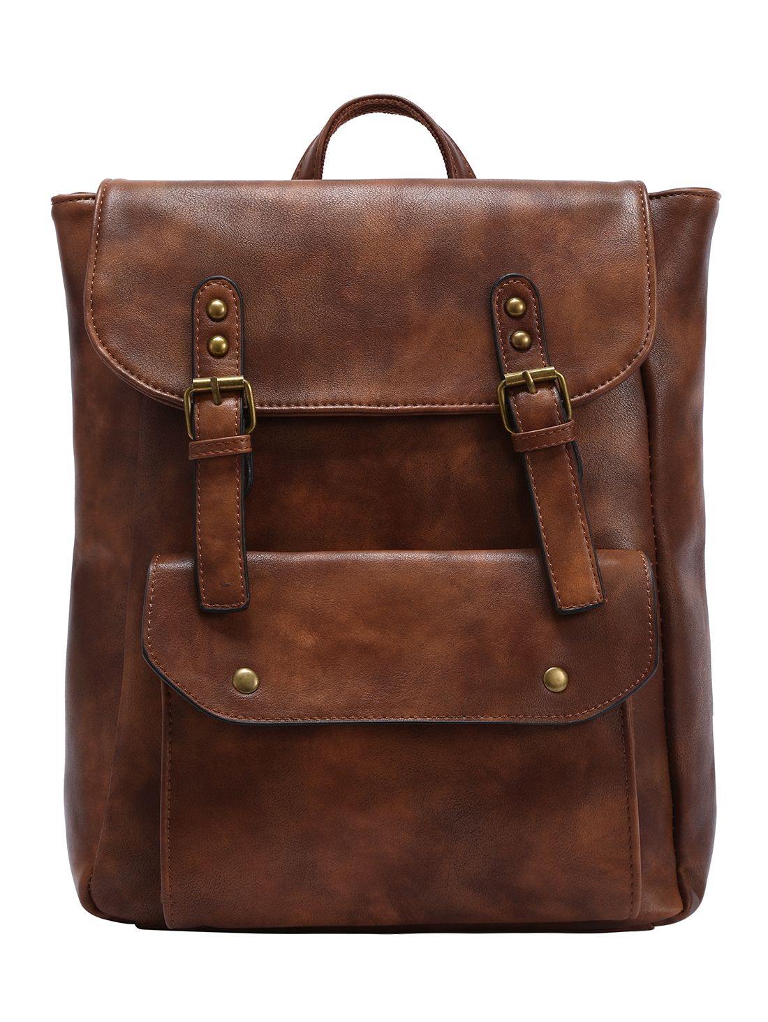 Faux Leather Double Buckle Strap Backpack - Brown | Backpacks ...