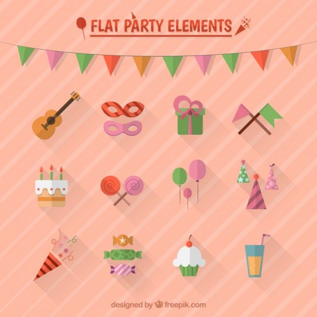 Plat party elements Free Vector