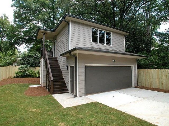 Enclosed to match garage siding and door under landing – Granny Flat Above Garage Plans