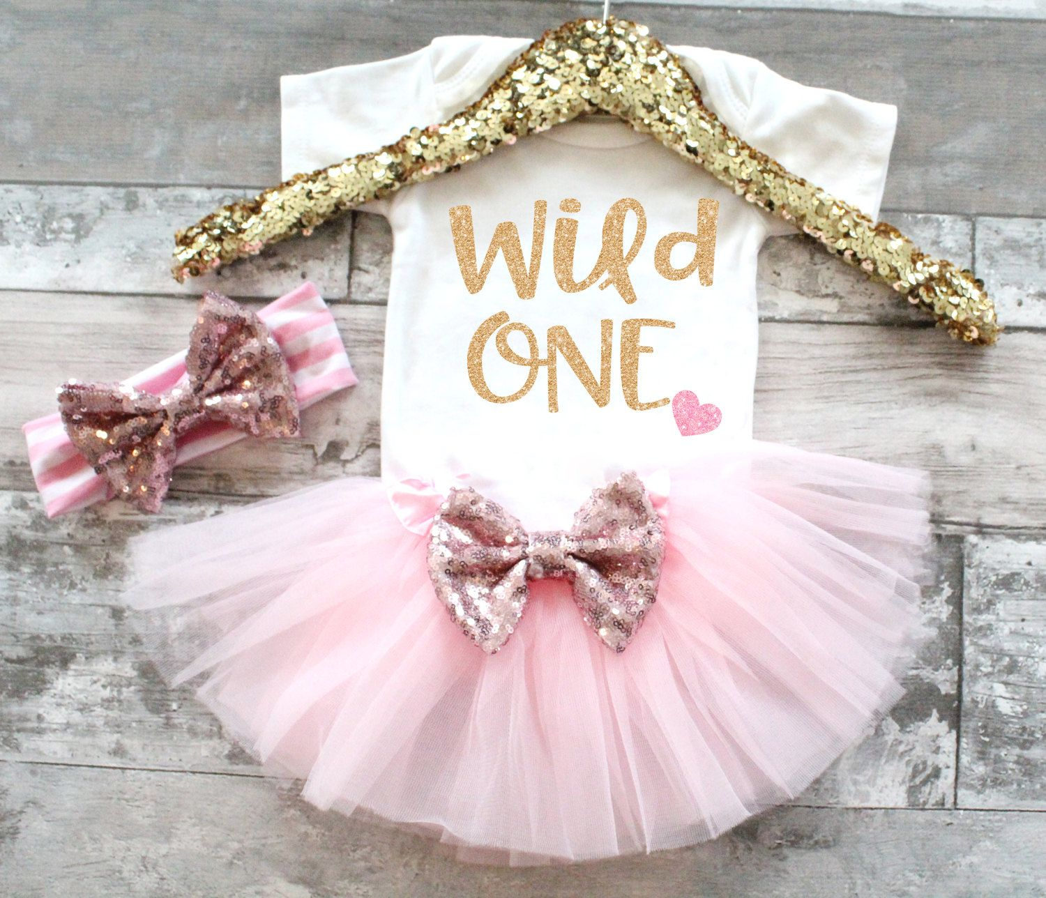 4b1bd8b04 Baby Girl 1st Birthday Outfit Pink and Gold 1st Birthday Outfit Wild One 1st  Birthday Outfit Birthday Tutu set First Birthday