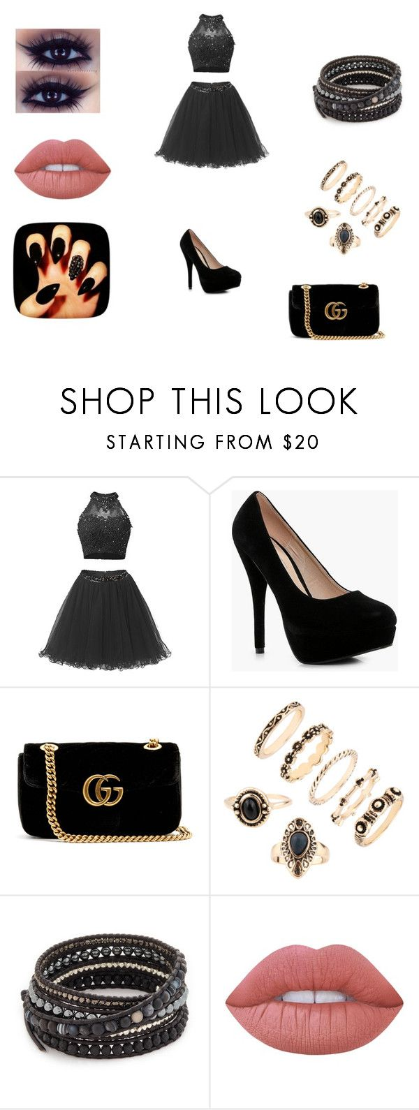 """""""beauty in black"""" by gemma-todd-1 on Polyvore featuring Boohoo, Gucci, Chan Luu and Lime Crime"""