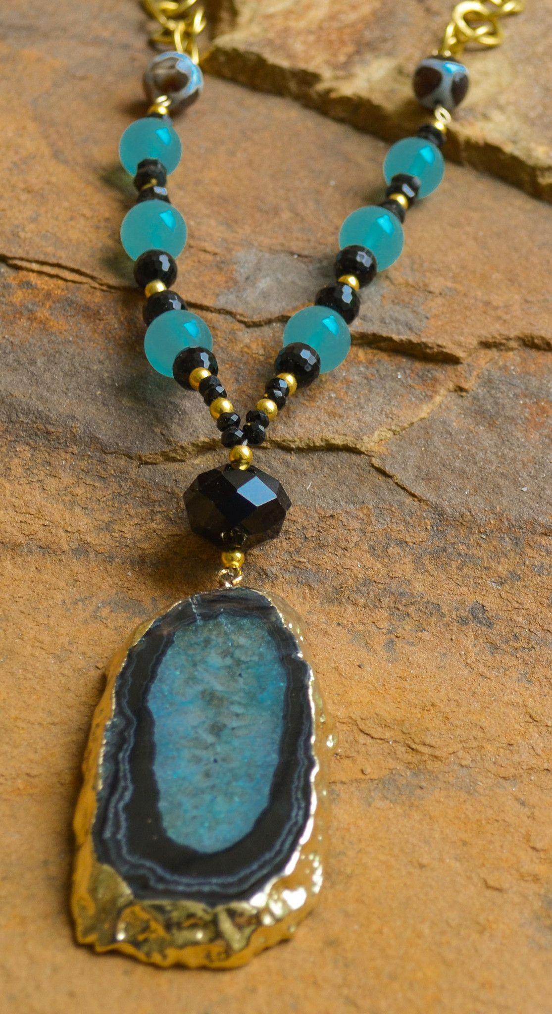 Black aqua agate necklace nayan pinterest agate aqua and