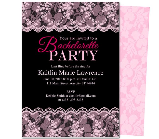 Printable DIY Bachelorette Party Invitations Boudoir Invitation Template For WORD Publisher OpenOffice And Apple IWork Pages