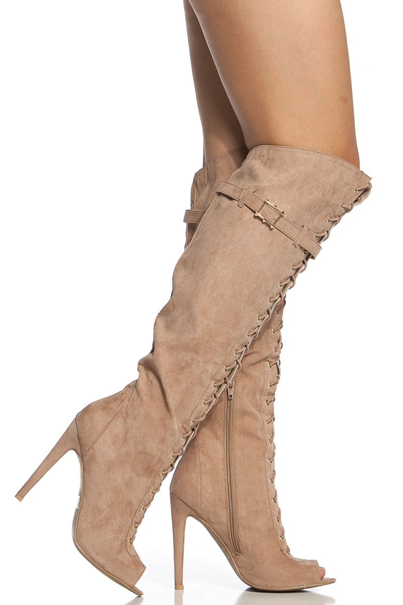 25de7652537e Taupe Faux Suede Lace Up Knee High Peep Toe Boots   Cicihot Boots  Catalog women s