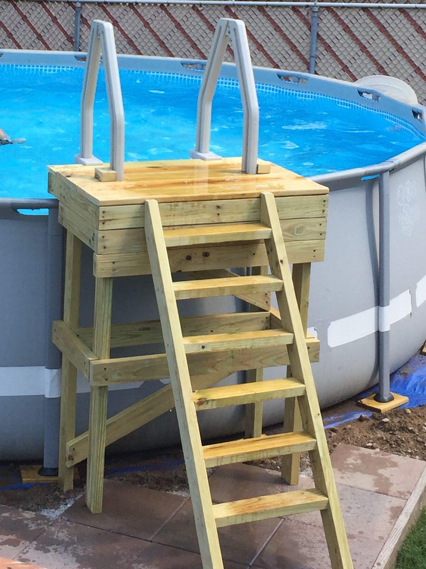 Platform with ladder for Intex Steel Frame pool (18' x 52