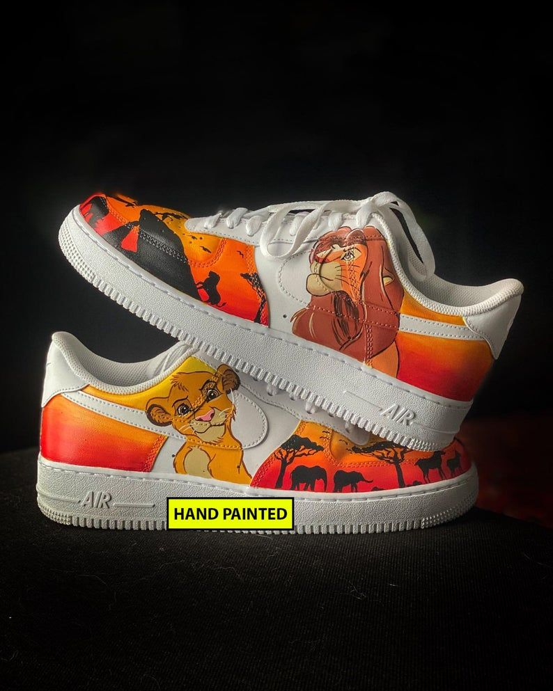 Custom Sneakers LION KING Nike Air Force Hand Painted Lion